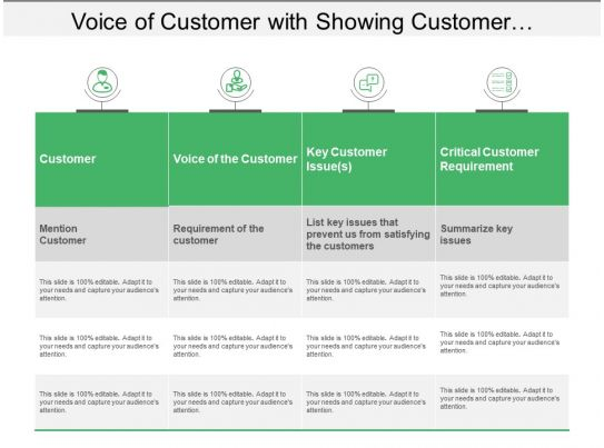 Voice Of Customer With Showing Customer Requirements And