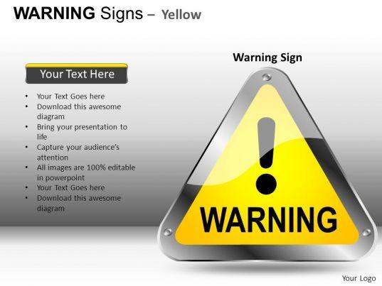 Warning Sign Yellow Powerpoint Presentation Slides Db