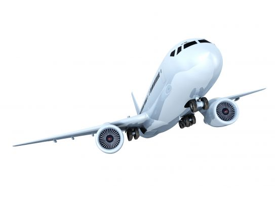 White Background With Aeroplane And Travel Stock Photo