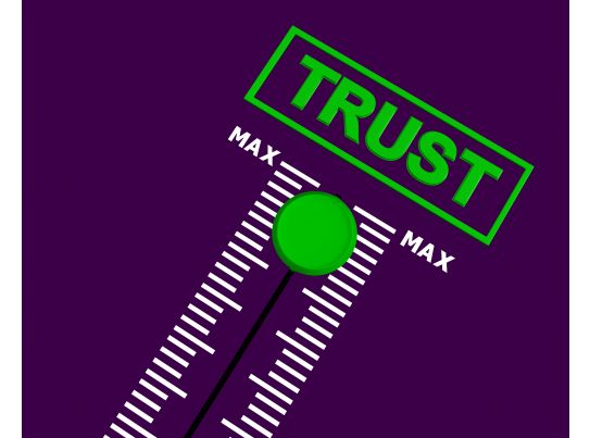 word trust meter graphic with maximum point stock photo