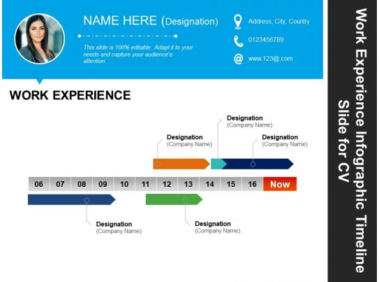 work experience infographic timeline slide for cv good ppt
