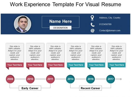 work experience template for visual resume powerpoint