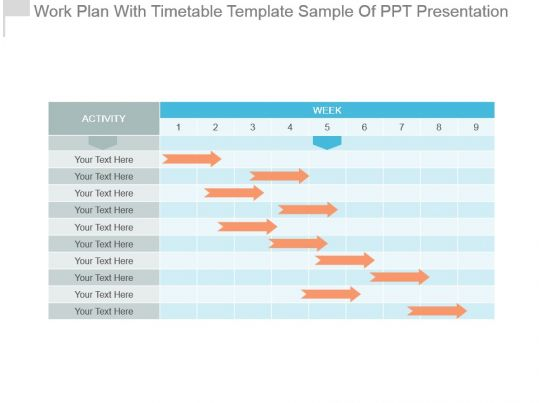 work plan with timetable template sample of ppt