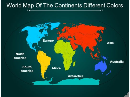 World map of the continents different colors powerpoint world map of the continents different colors powerpoint presentation templates ppt template themes powerpoint presentation portfolio gumiabroncs Choice Image