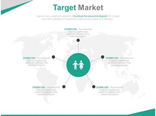 World Map With Target Market Analysis Powerpoint Slides