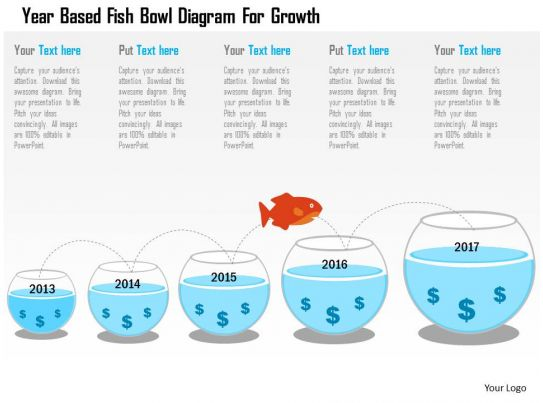 year based fish bowl diagram for growth flat powerpoint design Slide04