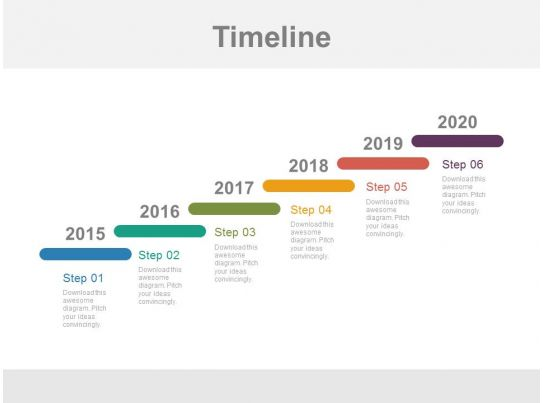 year based stair design timeline powerpoint slides