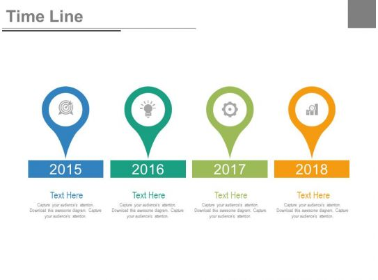 year based timeline for success milestones powerpoint