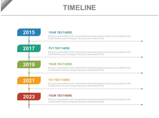 year based vertical timeline for business powerpoint slides. Black Bedroom Furniture Sets. Home Design Ideas