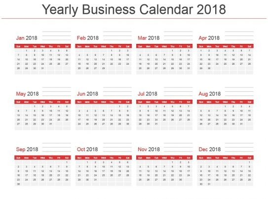 Yearly business calendar 2018 powerpoint template powerpoint yearly business calendar 2018 powerpoint template powerpoint presentation designs slide ppt graphics presentation template designs friedricerecipe Choice Image