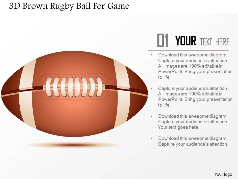 D Brown Rugby Ball For Game Powerpoint Template PowerPoint - Awesome football powerpoint template concept