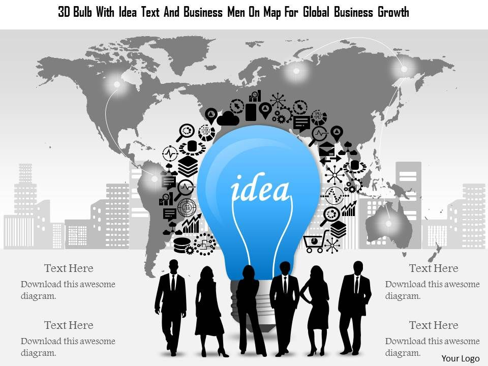 0115_3d_bulb_with_idea_text_and_business_men_on_map_for_global_business_growth_powerpoint_template_Slide01