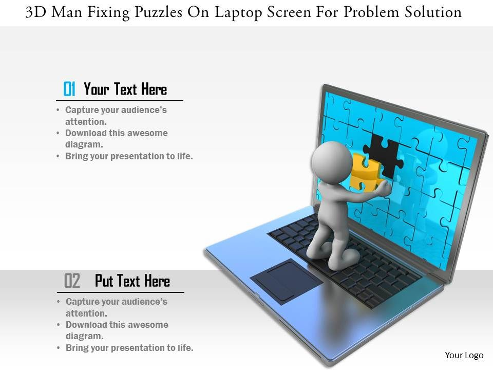 0115_3d_man_fixing_puzzles_on_laptop_screen_for_problem_solution_ppt_graphics_icons_Slide01