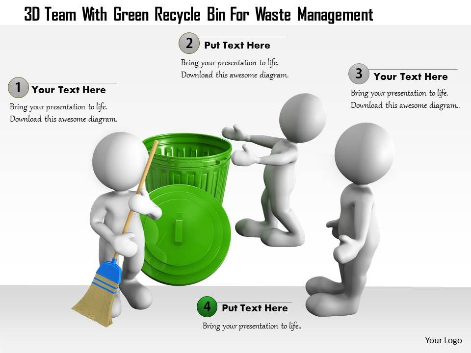 0115 3D Team With Green Recycle Bin For Waste Management Ppt
