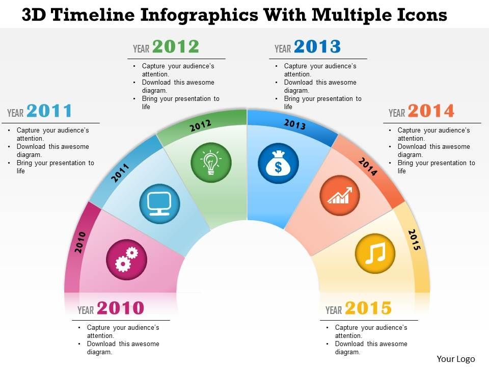 0115 3d Timeline Infographics With Multiple Icons Powerpoint