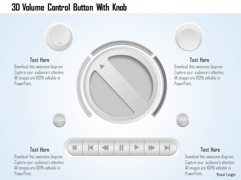 0115 3d Volume Control Button With Knob Powerpoint Template