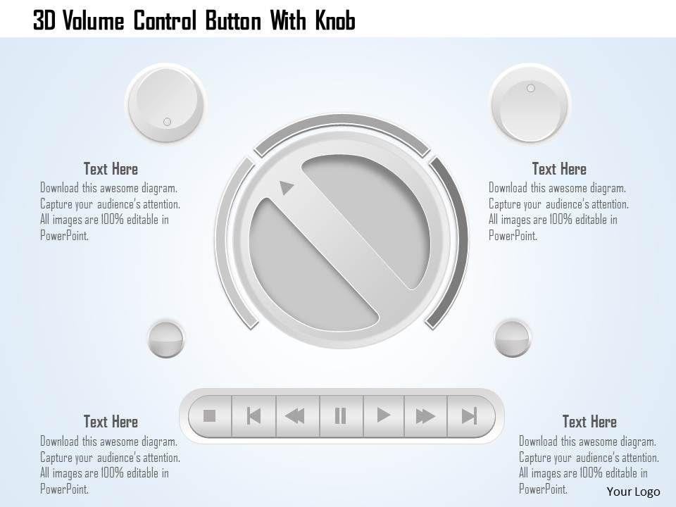 Volume Control Button : D volume control button with knob powerpoint template