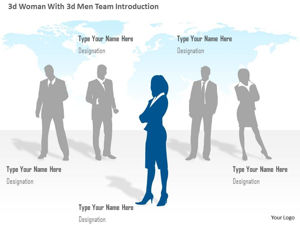 0115 3d Woman With 3d Men Team Introduction Powerpoint Template ...