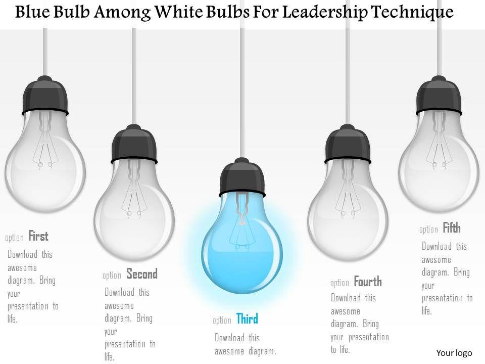 0115_blue_bulb_among_white_bulbs_for_leadership_technique_powerpoint_template_Slide01
