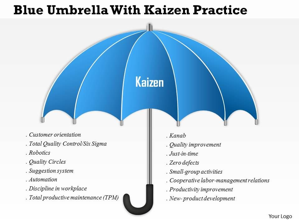 0115 Blue Umbrella With Kaizen Practice PowerPoint Template – Umbrella Template