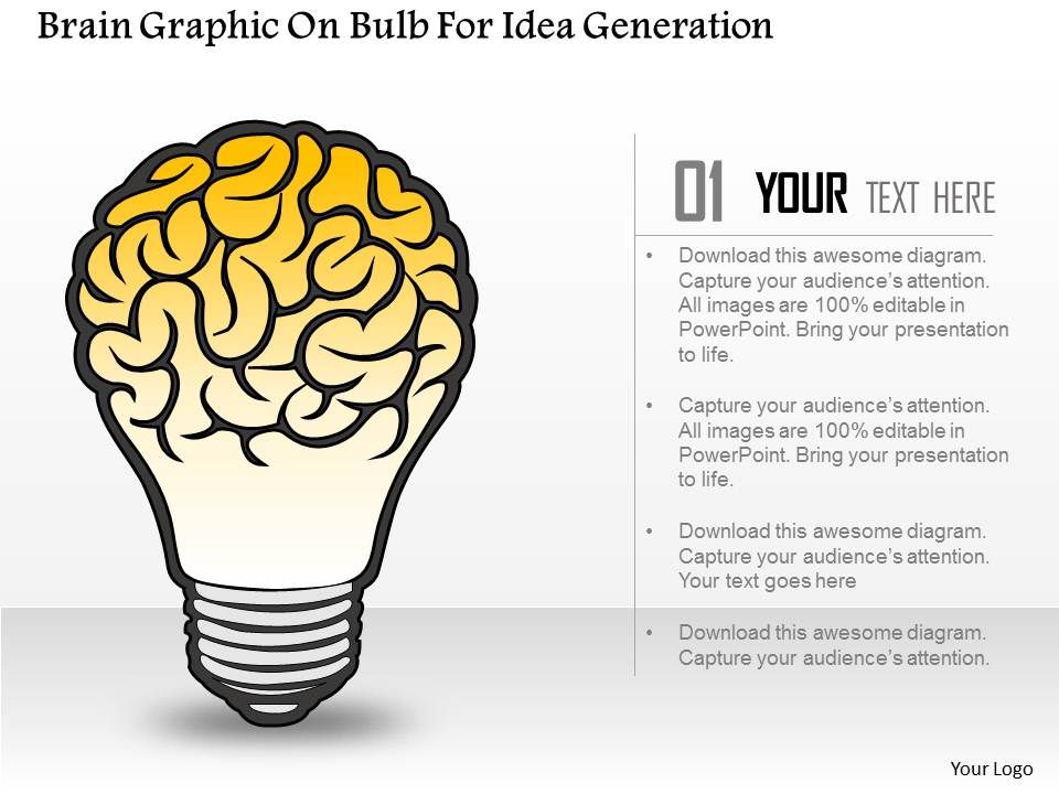 Brain Graphic On Bulb For Idea Generation Powerpoint Template
