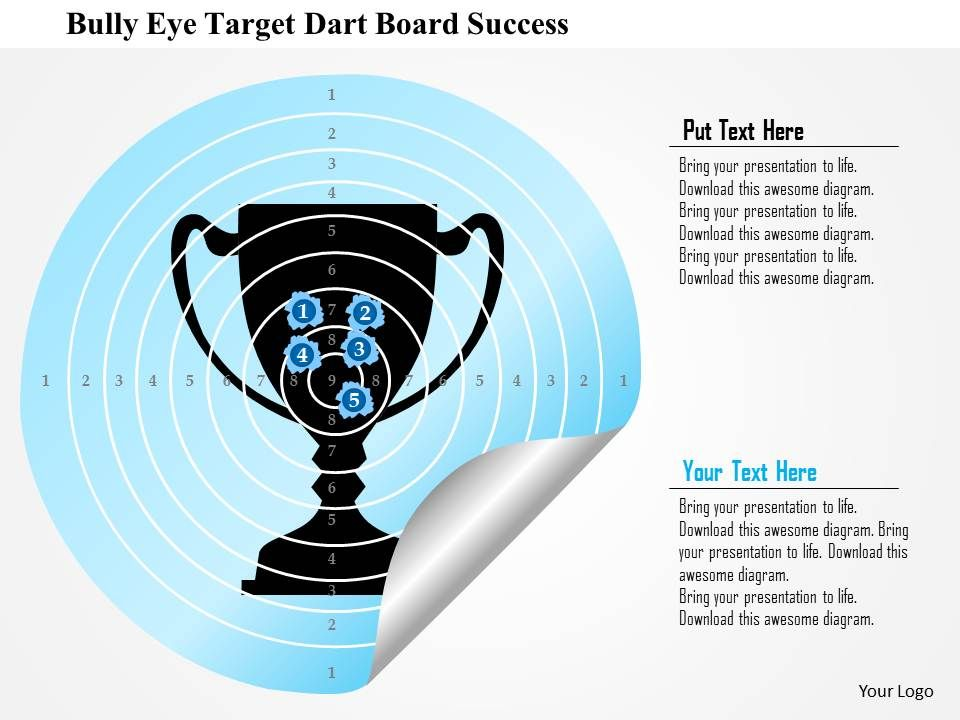 0115 bulls eye target board with trophy graphic business framework, Presentation templates