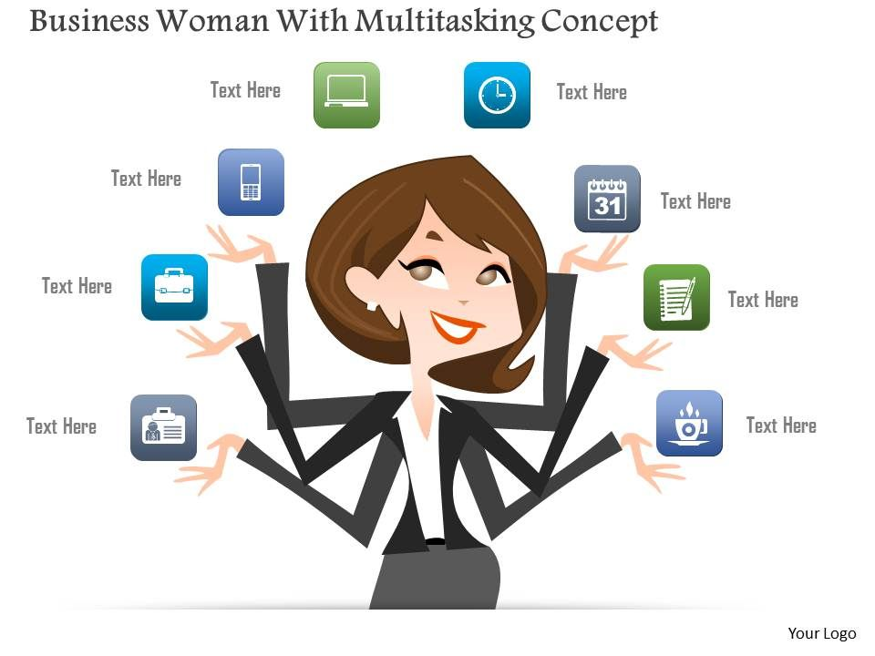 0115 Business Woman With Multitasking Concept Powerpoint Template Powerpoint Presentation Designs Slide Ppt Graphics Presentation Template Designs