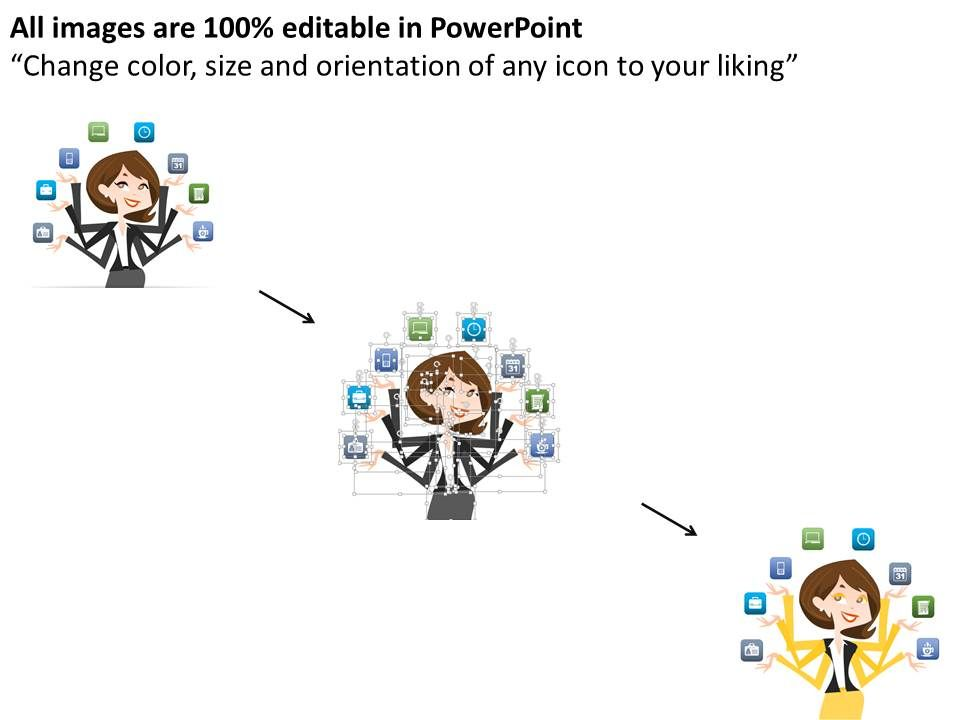0115 Business Woman With Multitasking Concept Powerpoint