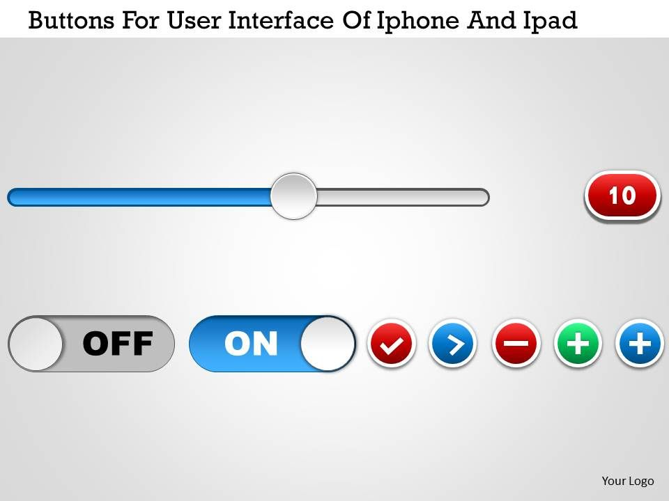0115 Buttons For User Interface Of Iphone And Ipad Powerpoint