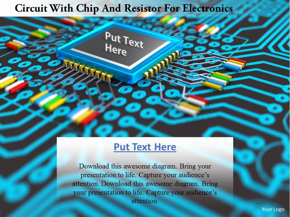 0115 Circuit With Chip And Resistor For Electronics Image Graphics ...