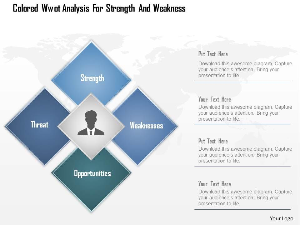 0115 Colored Swot Analysis For Strength And Weakness Powerpoint ...