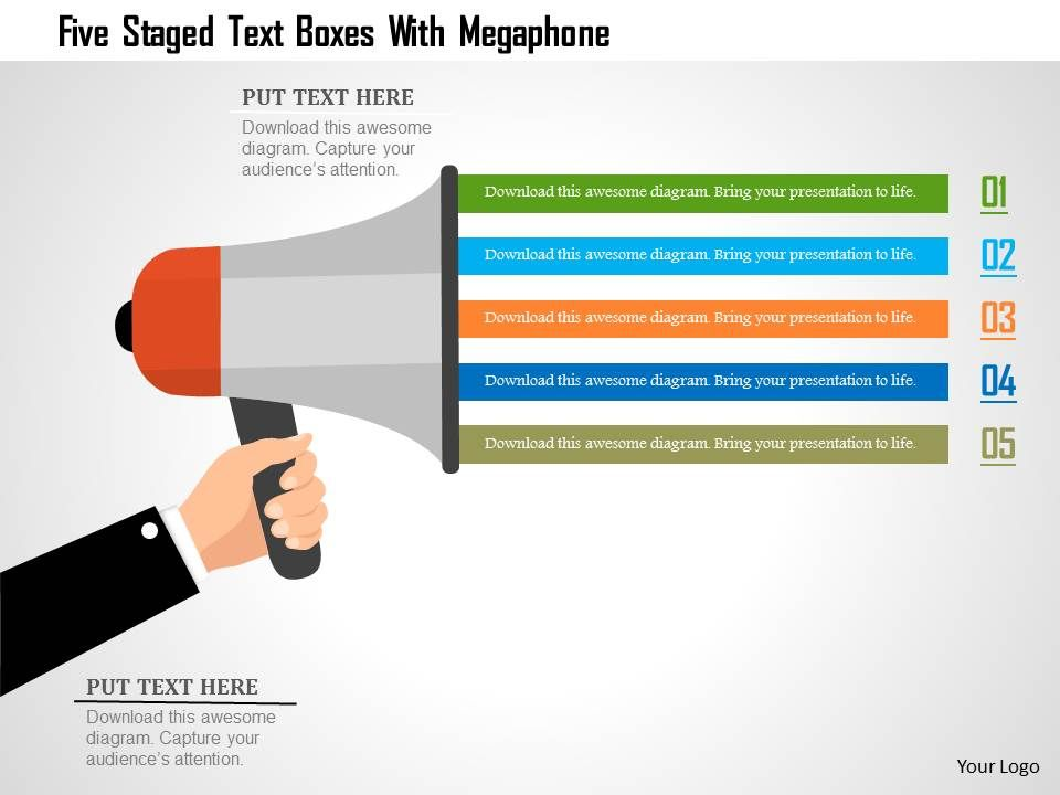 0115_five_staged_text_boxes_with_megaphone_powerpoint_template_Slide01