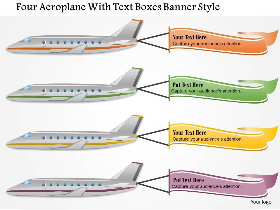 0115 Four Aeroplane With Text Boxes Banner Style Powerpoint Template