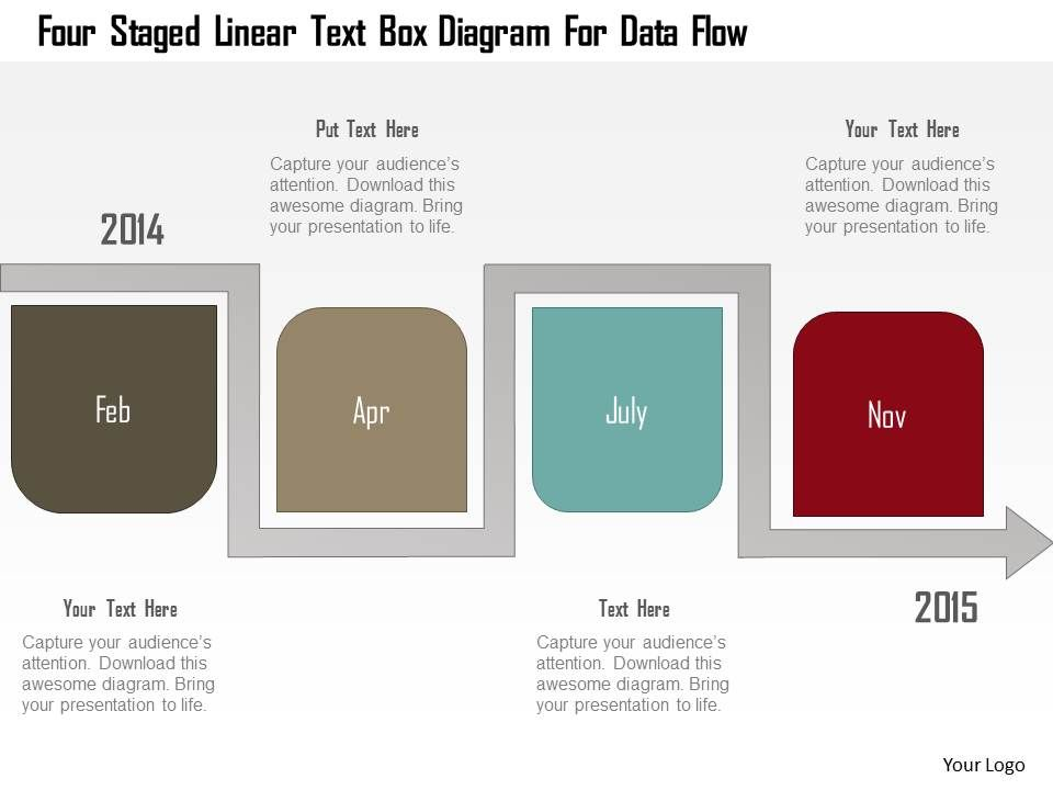 0115_four_staged_linear_text_box_diagram_for_data_flow_powerpoint_template_Slide01