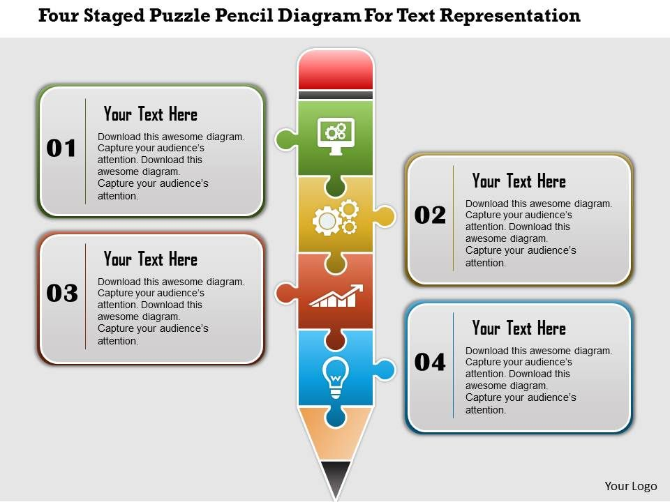 0115 Four Staged Puzzle Pencil Diagram For Text Representation ...
