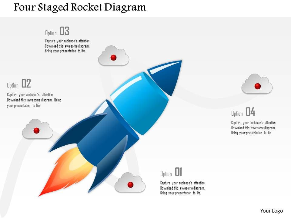 0115 four staged rocket diagram powerpoint template | powerpoint, Presentation templates