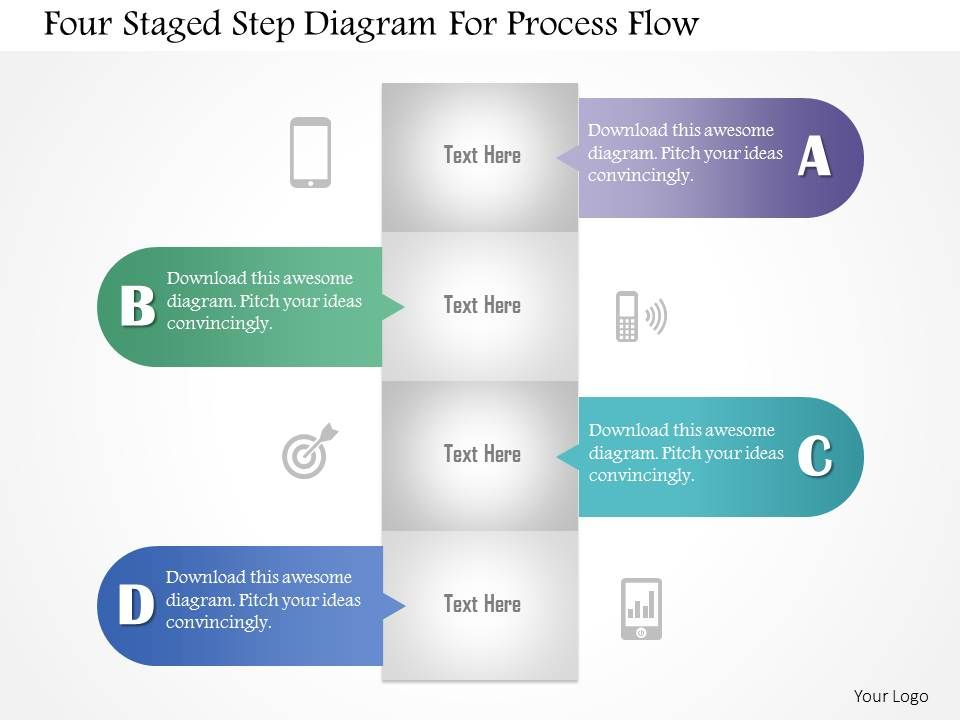 0115 four staged step diagram for process flow powerpoint template, Modern powerpoint