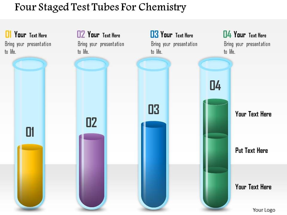 Four Staged Test Tubes For Chemistry Powerpoint Template