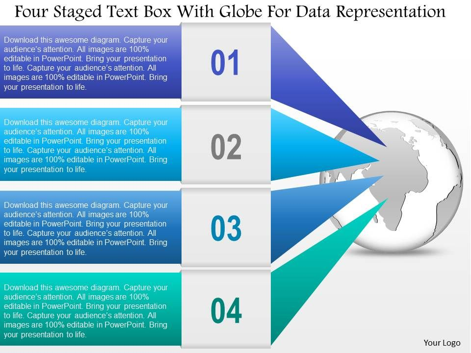 0115_four_staged_text_box_with_globe_for_data_representation_powerpoint_template_Slide01