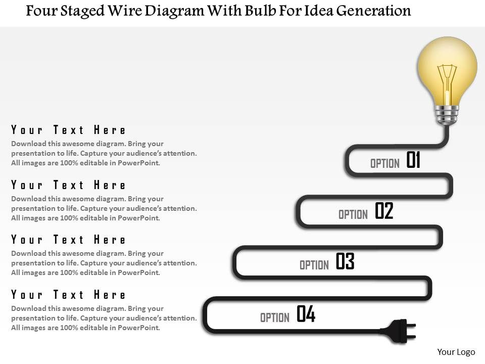 0115 four staged wire diagram with bulb for idea generation powerpoint template presentation