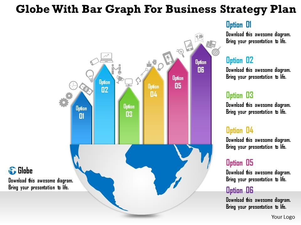 0115 globe with bar graph for business strategy plan powerpoint