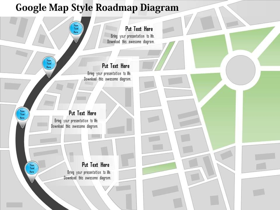 0115 Google Map Style Roadmap Diagram PowerPoint Template | Graphics ...