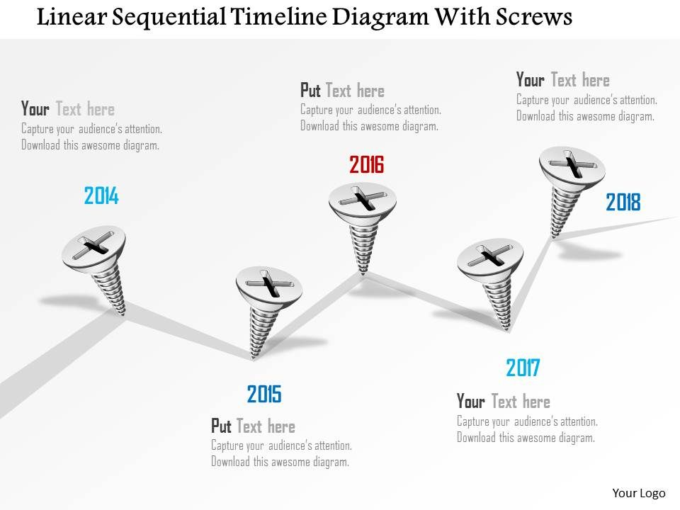 0115 linear sequential timeline diagram with screws powerpoint template