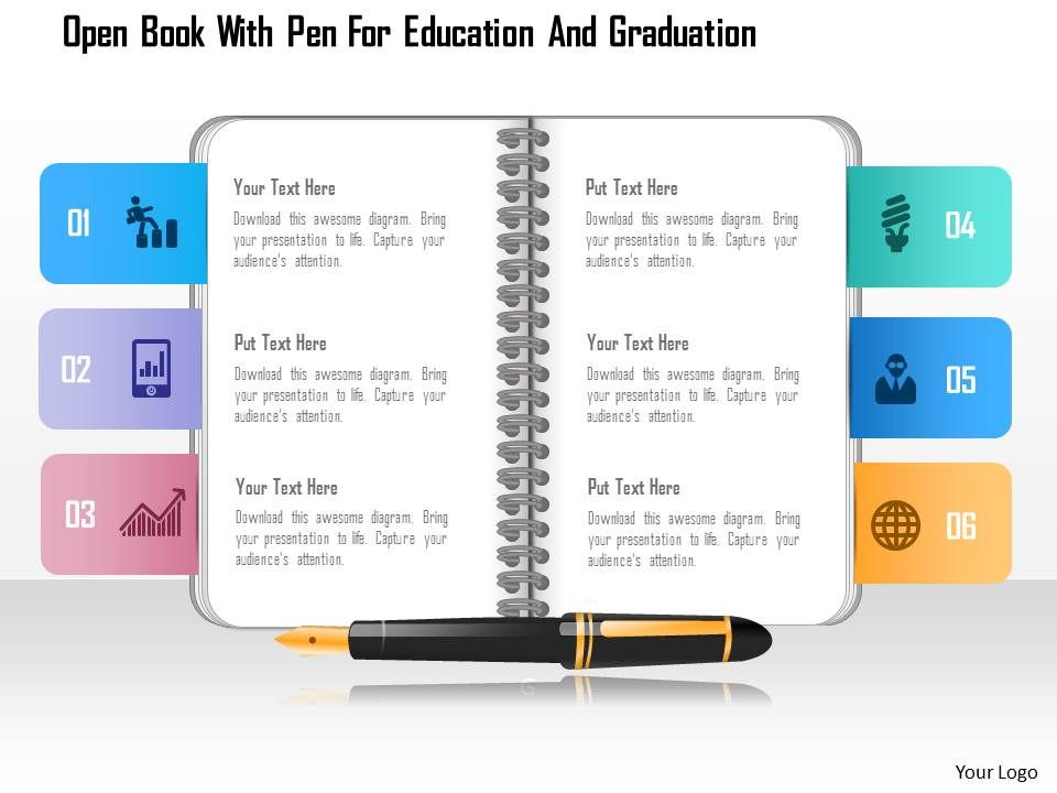 0115 open book with pen for education and graduation powerpoint, Presentation templates