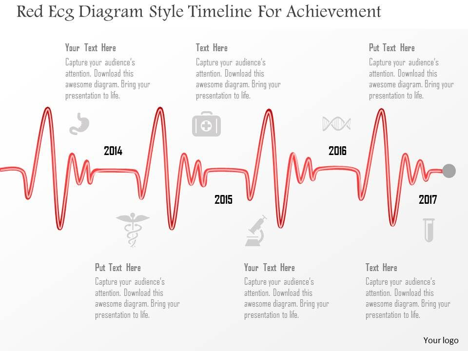 0115 Red Ecg Diagram Style Timeline For Achievement Powerpoint