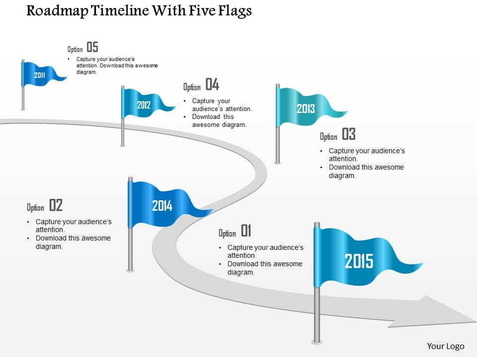 Roadmap Timeline With Five Flags Powerpoint Template - Roadmap timeline template