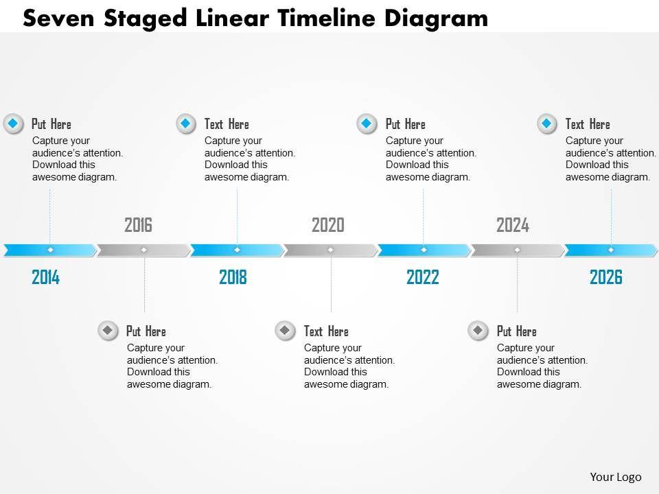 0115 Seven Staged Linear Timeline Diagram Point Template Slide01 Slide02