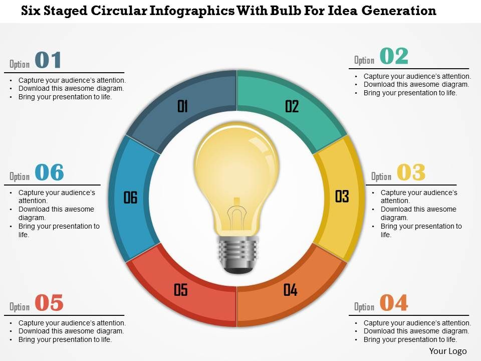 0115 Six Staged Circular Infographics With Bulb For Idea ...