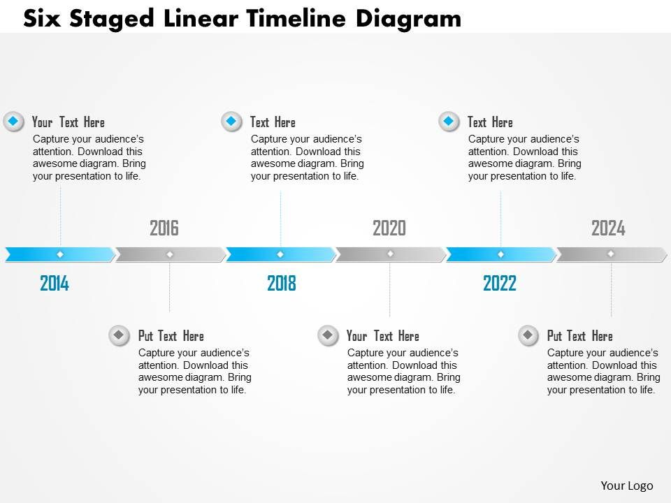 Seven Staged Linear Timeline Diagram Powerpoint Template