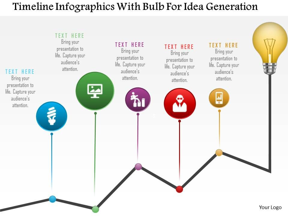 0115 timeline infographics with bulb for idea generation powerpoint